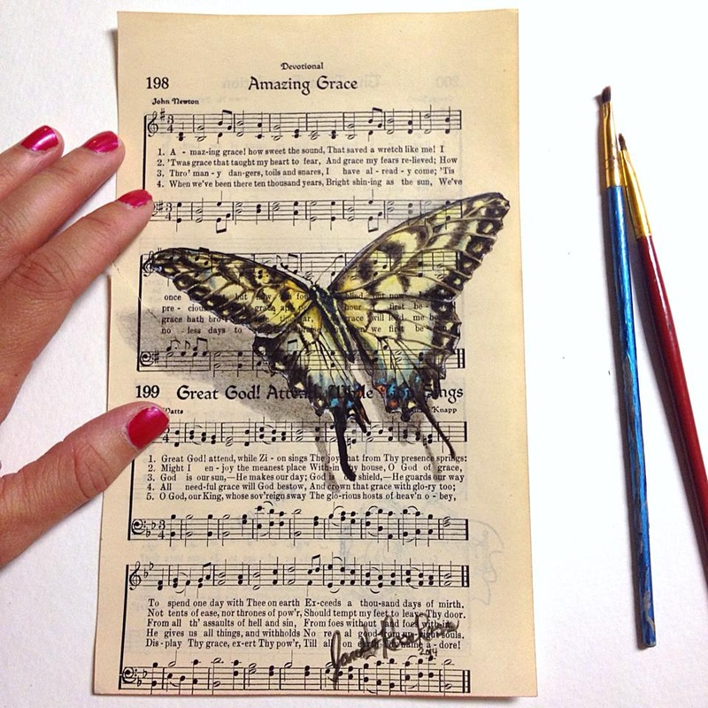 17-Janette-Rose-Painting-on-Leafs-+-Butterfly-Painting-on-Sheet-Music-www-designstack-co