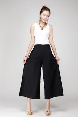 Pantalones anchos de moda
