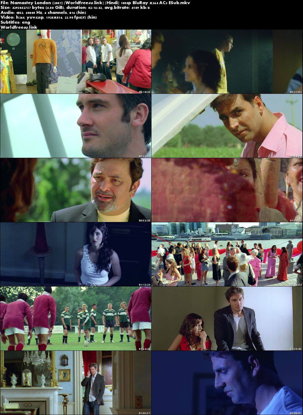 Screen Shoot of Poster of Namastey London 2007 Full Hindi Movie Download BRRip 720p ESub Watch Online Free In Hd