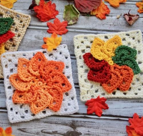 Leaves Granny Square - Free Pattern