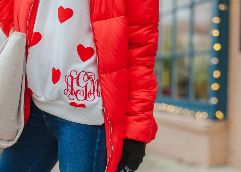 i love jewelry monogrammed heart sweater