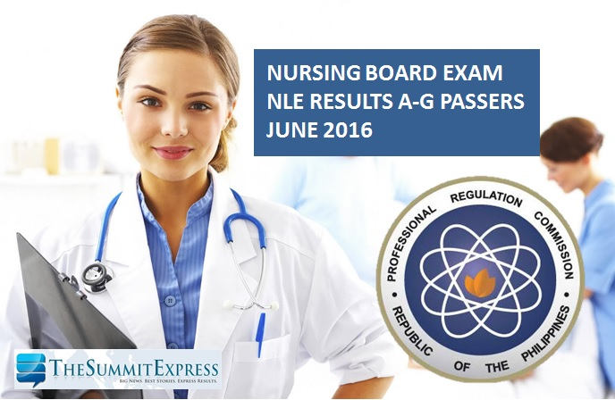 A-G Passers: NLE Results June 2016 nursing board exam