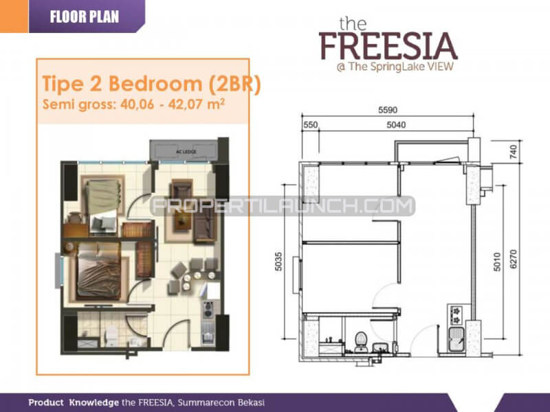 Tipe 2BR Apartemen SpringLake View Bekasi - The FREESIA Tower
