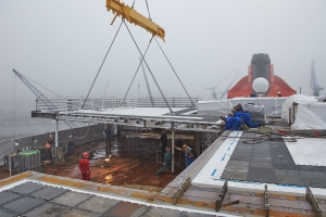 Cunard Queen Mary 2 - Frames added to secure new staterooms to the existing deck.