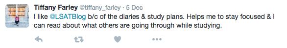 Tiffany Twitter LSAT Diaries Study Plans