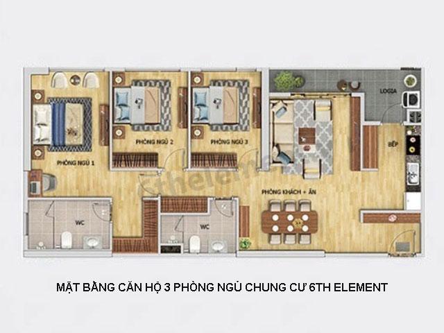 Thiết kế mặt bằng căn hộ 3 PN