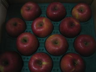 真っ赤なふじりんごのアップ