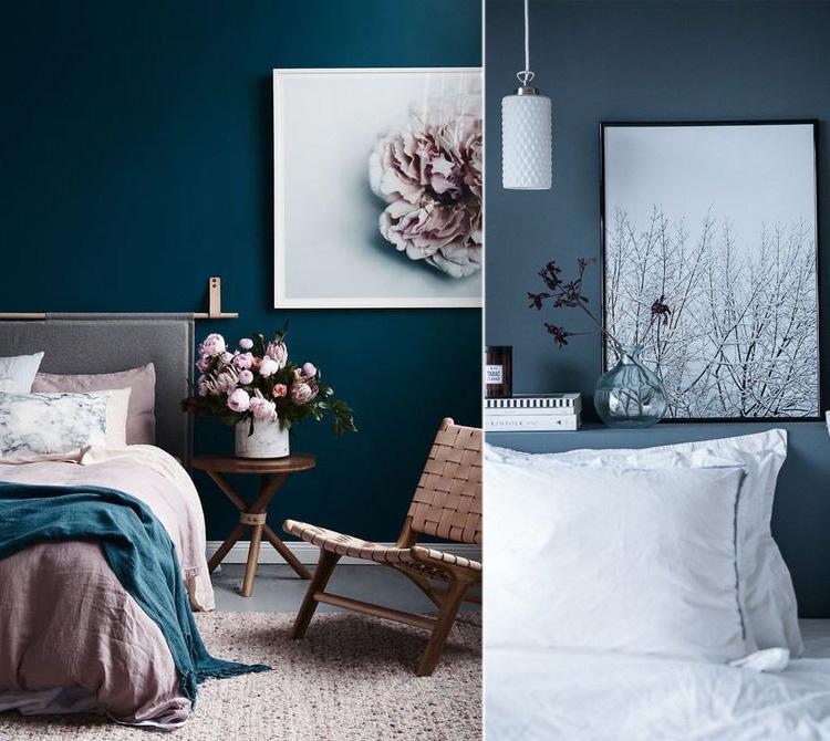 Abbinare complementi ed arredi ad una camera da letto con pareti di colore blu
