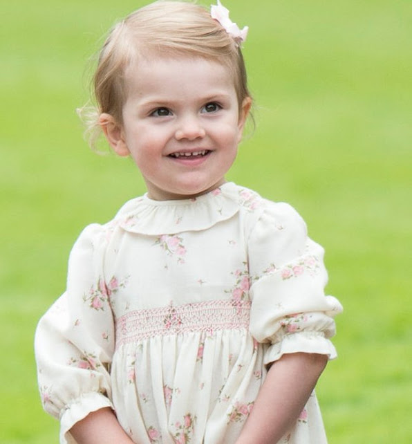 Princess Estelle wearing the old dress from her aunt Princess Madeleine.