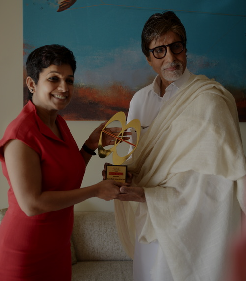 Amitabh Bachchan receiving his award