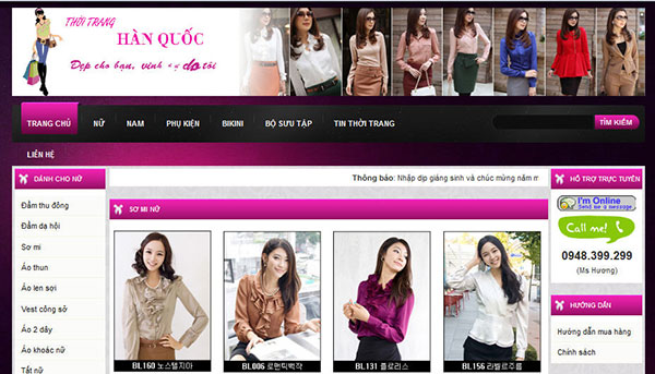 Thiết kế website bán hàng quần áo thời trang