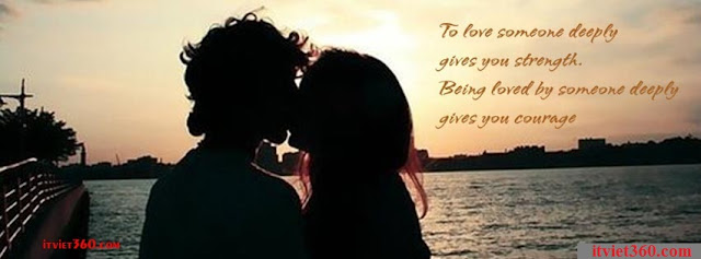 Ảnh bìa lãng mạn cho Facebook - Cover FB romantic timeline, hôn nhau trước hoàng hôn trên biển