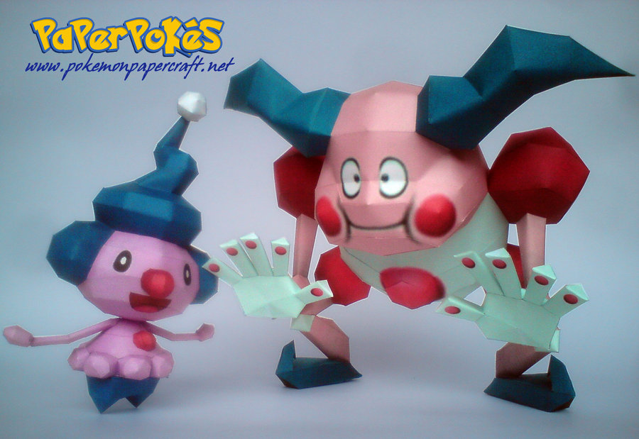 Papercraft Mime Jr. and Mr. Mime. NOW GO ON AND TELL ME THAT MR. MIME ISN T  CREEPY 3713ff531ffc