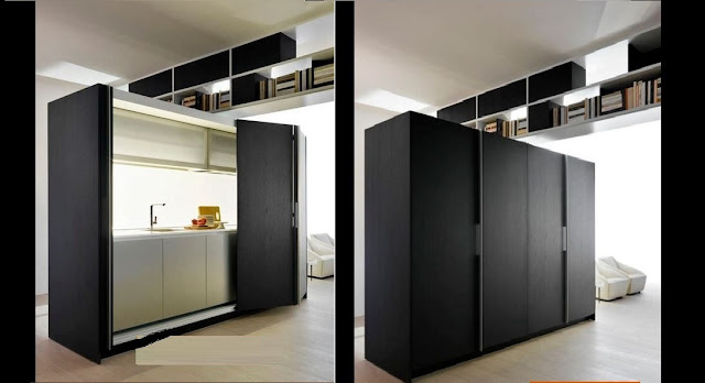 freestanding hidden kitchen design for small spaces