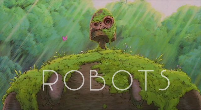 A robot covered in moss with the word robot written on it.