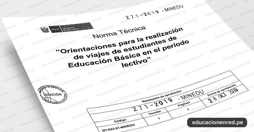 MINEDU publicó anexo de la Norma Técnica «Orientaciones para la realización de viajes de estudiantes de Educación Básica en el período lectivo» (R. VM. N° 271-2019-MINEDU)