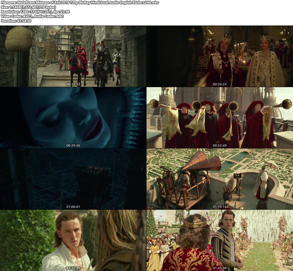 Maleficent Mistress of Evil 2019 720p BluRay Hindi Dual Audio English ESubs x264 | 480p 300MB | 100MB HEVC Screenshot