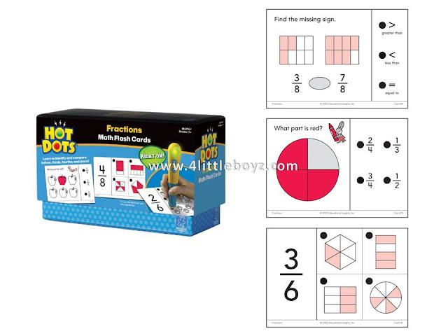 Educational Insights Hot Dots Math Flash Cards Fractions Learning Toys
