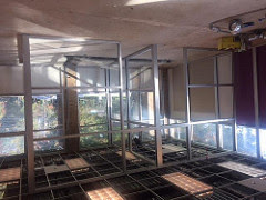 The glass walls of the new collaboration rooms