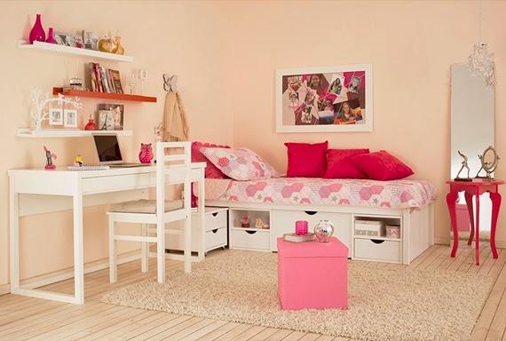Dormitorio juvenil en tonos rosa dormitorios colores y for Dormitorio rosa