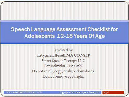 Product review: Speech Language Assessment Checklist for Adolescents 12-18 Years of Age