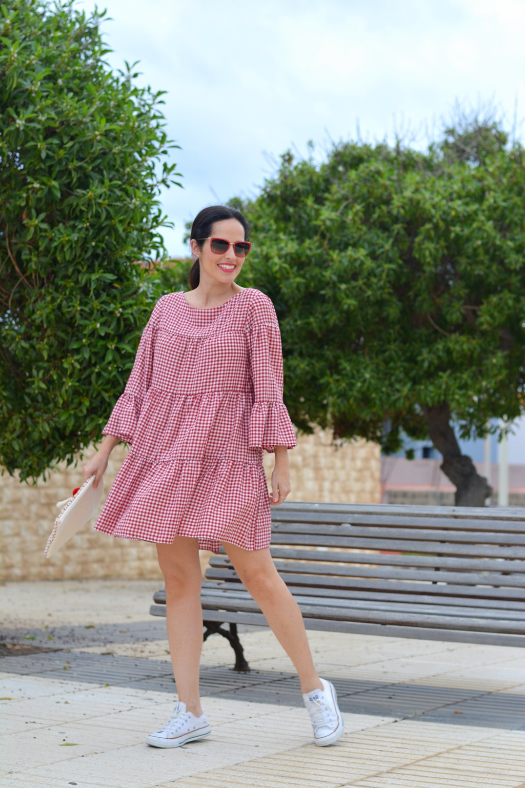 zara-gingham-mini-dress-outfit-converse