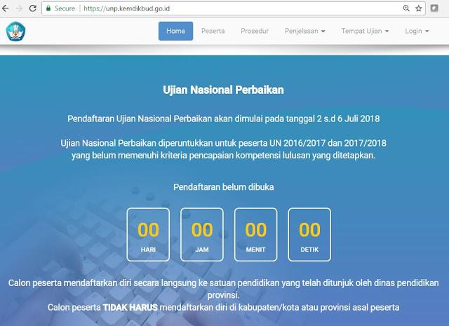 Pendaftaran Ujian Nasional Perbaikan akan dimulai pada tanggal 2 s.d 6 Juli 2018