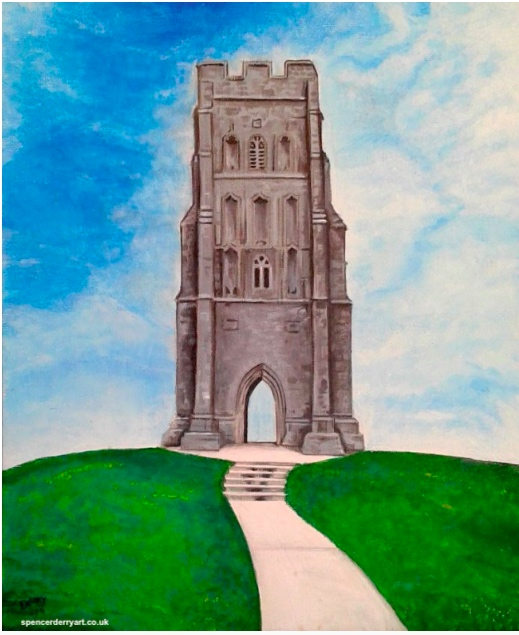 St Michael's Tower at Glastonbury Tor by Artist Spencer J. Derry