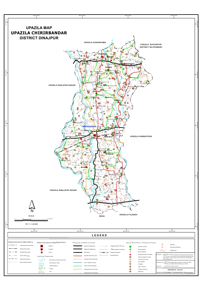 Chirirbandar Upazila Map Dinajpur District Bangladesh