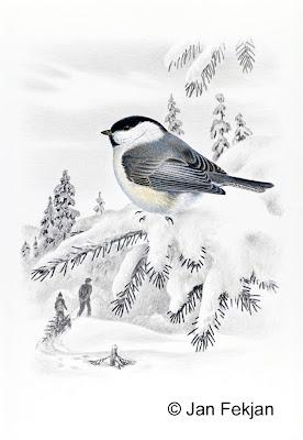 Bilde av digigrafiet 'Granmeis'. Digitalt trykk laget på bakgrunn av et maleri av en fugl i vinterlandskap. En illustrasjon av granmeis, Poecile montanus. Fuglen sitter i en snøtung gran. Snøen ligger tungt på trærne. I bakgrunnen ser man en voksen og et barn som drar en nyfelt gran etter seg, et juletre. Stilen kan beskrives som figurativ og realistisk. Bildet er i høydeformat.