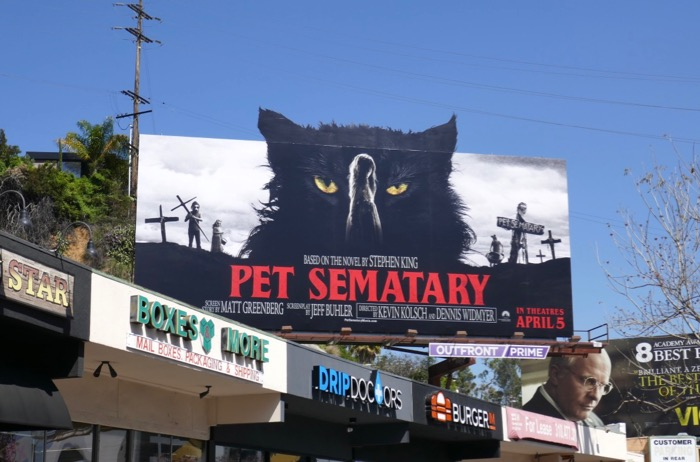 Pet Sematary cat cut-out billboard Sunset Strip