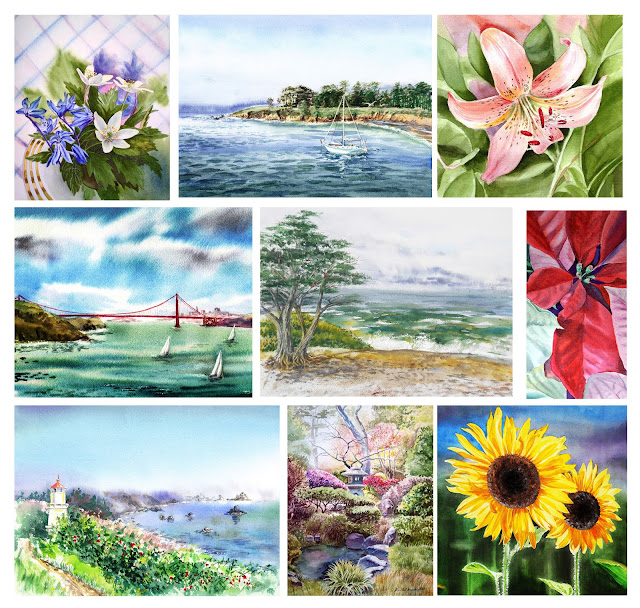 Watercolour Landscape and Watercolor Flowers Paintings