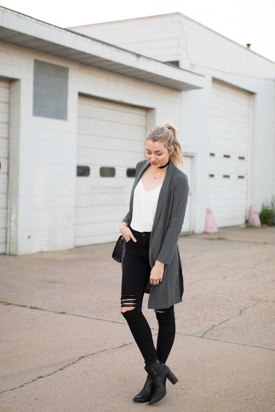 Long blazer with black distressed jeans