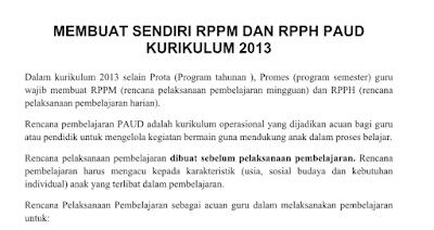 Membuat Sendiri RPPM dan RPPH PAUD Kurikulum 2013 Lengkap Terbaru 2016