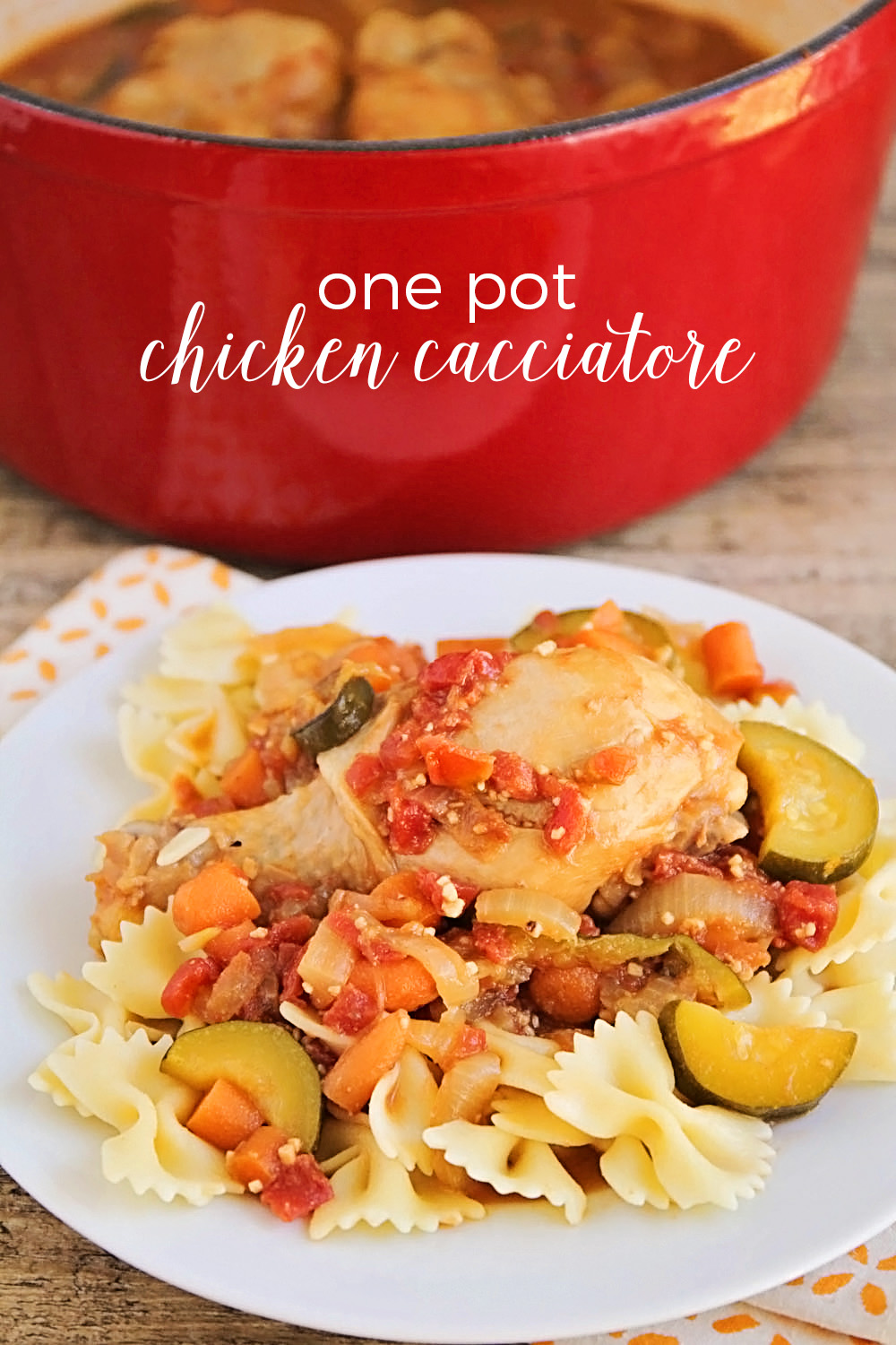 This one pot chicken cacciatore is so savory and delicious! Full of summer vegetables and tender, fall-off-the-bone chicken, it's an easy dinner the whole family will love!