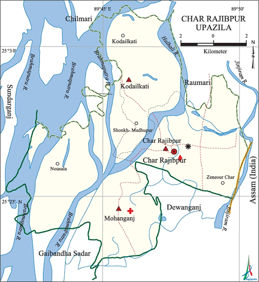 Char Rajibpur Upazila Map Kurigram District Bangladesh