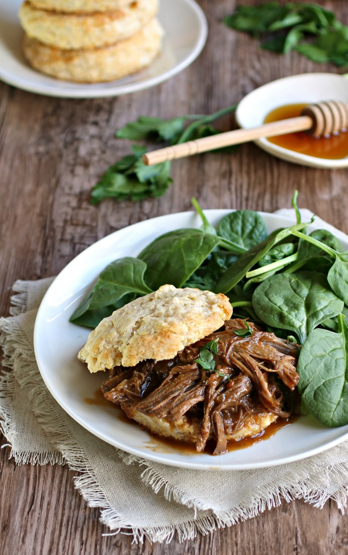 Pulled BBQ Brisket with Honey Cornmeal Biscuits