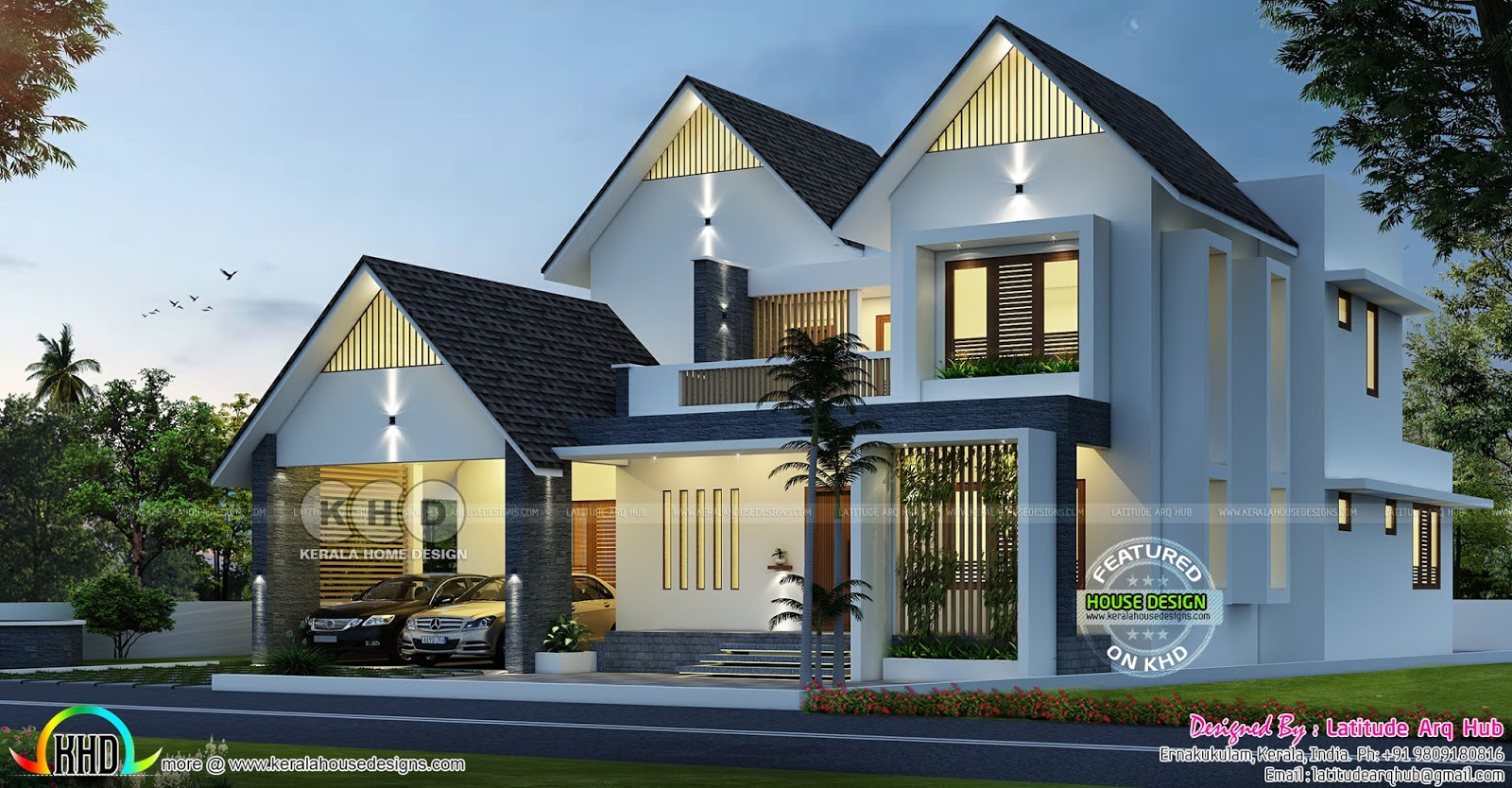Sloping roof western model home design kerala home for Western house plans with photos