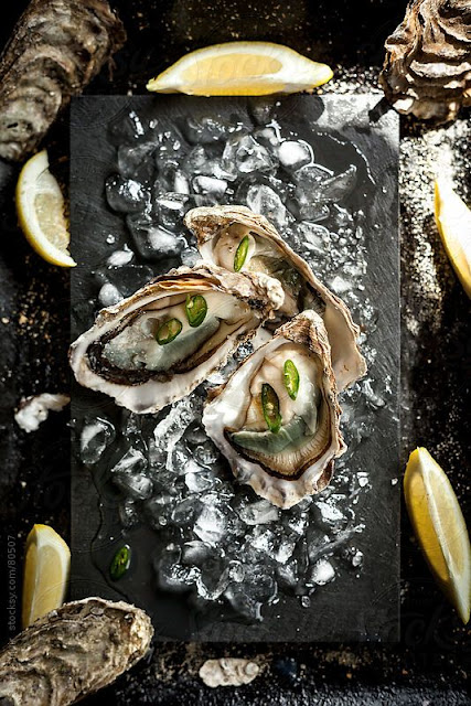 Oysters on ice. by Darren Muir. An exclusive image for Stocksy.com.
