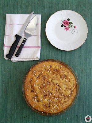 "Tarte au sucre (literally ""sugar tart"") is a specialty from the North of France. A thin round brioche is topped with a mixture of heavy cream and light brown sugar. This classic French dessert is easier to make than it looks ! - La tarte au sucre est une recette originaire du Nord de la France. Une base briochée est recouverte de crème et de vergeoise. Une recette simple à réaliser !"