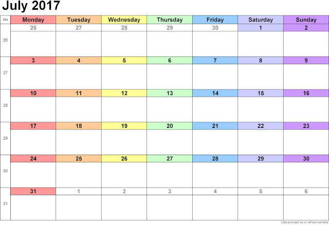 July 2017 Calendar Printable | July 2017 Calendar Template