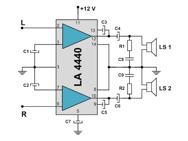 Skema Rangkaian Amplifier Stereo Sederhana Menggunakan IC LA4440