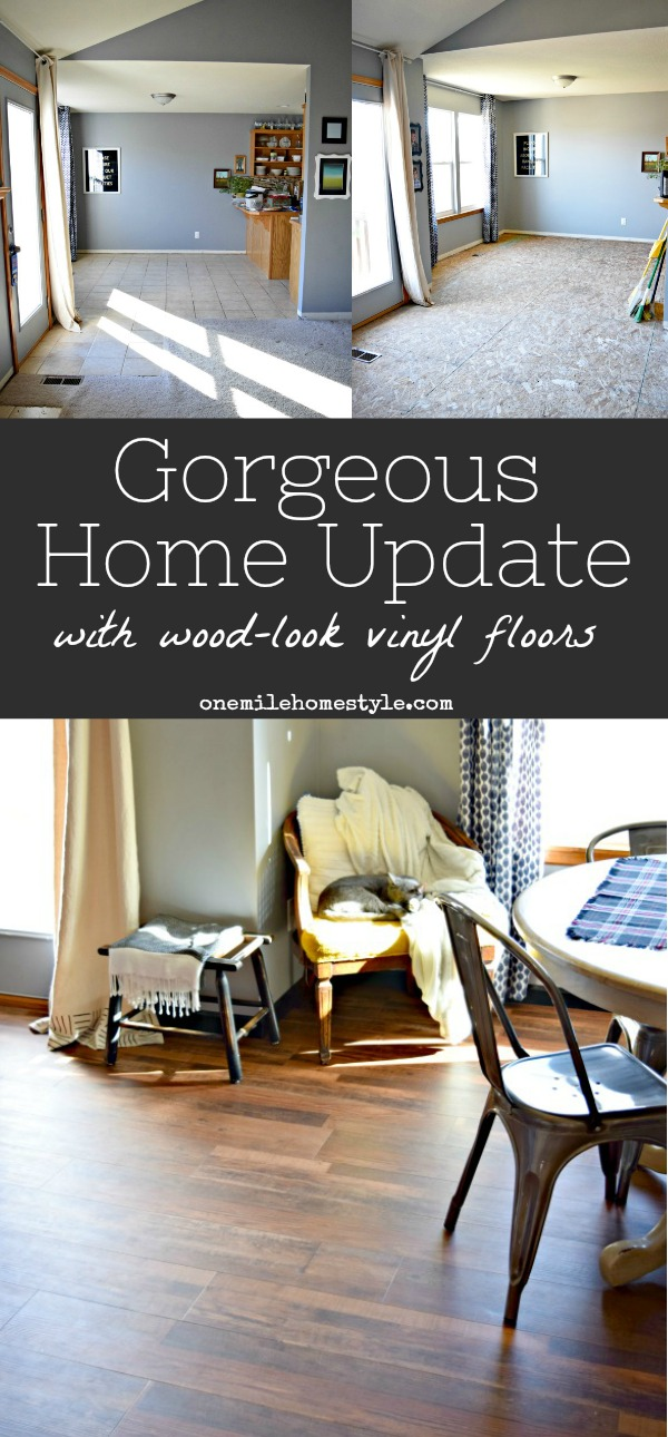 Check out this gorgeous home update with wood look vinyl tile flooring! Add instant farmhouse rustic charm to your entire home!