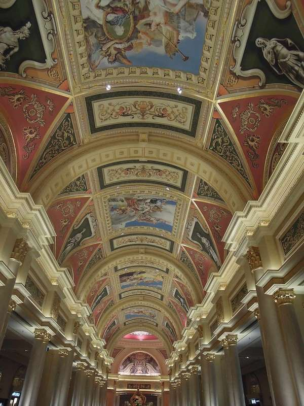 The grand ceiling at a hallway at The Venetian Macao Resort Hotel