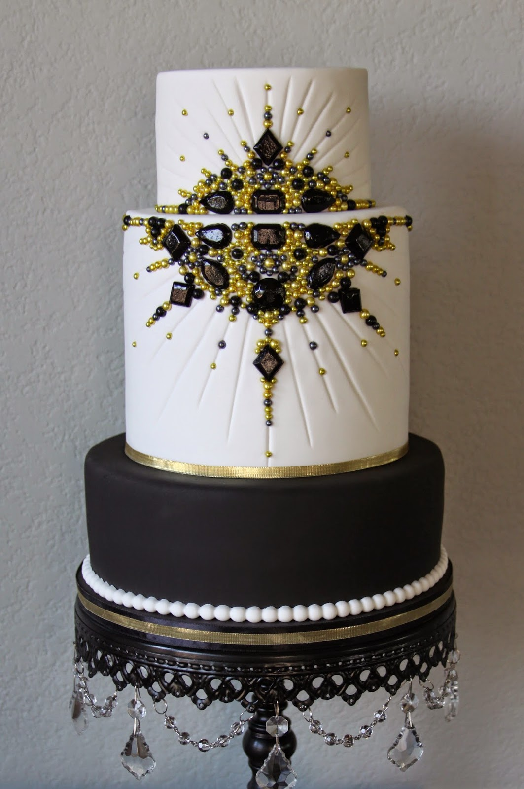 Black And Gold Jeweled Old Hollywood Cake