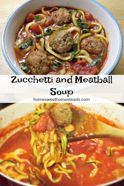 Zucchetti and Meatball Soup - Home Sweet Homestead