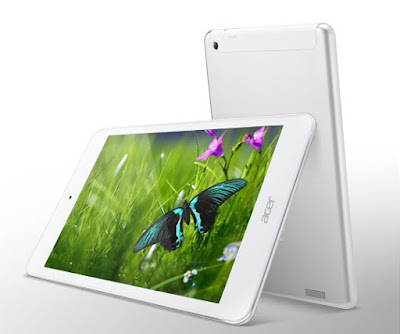 Acer Iconia A1-830 Specifications - LAUNCH Announced 2014, January  Tablet with no support for GSM voice communication, SMS, and MMS  This is not a GSM device, it will not work on any GSM network worldwide DISPLAY Type LED-backlit IPS LCD capacitive touchscreen, 16M colors Size 7.9 inches (~68.8% screen-to-body ratio) Resolution 768 x 1024 pixels (~162 ppi pixel density) Multitouch Yes BODY Dimensions 203 x 138.4 x 8.2 mm (7.99 x 5.45 x 0.32 in) Weight 380 g (13.40 oz) SIM No PLATFORM OS Android OS, v4.2 (Jelly Bean) CPU Dual-core 1.6 GHz Chipset Intel Atom Z2560 GPU PowerVR SGX544MP2 MEMORY Card slot microSD, up to 32 GB (dedicated slot) Internal 16 GB, 1 GB RAM CAMERA Primary 5 MP, autofocus Secondary 2 MP Features Geo-tagging Video 1080p NETWORK Technology No cellular connectivity 2G bands N/A GPRS No EDGE No COMMS WLAN WLAN Wi-Fi 802.11 b/g/n GPS Yes USB microUSB v2.0 Radio No Bluetooth v3.0 FEATURES Sensors Accelerometer Messaging Email, Push Email, IM Browser HTML5 Java No SOUND Alert types Vibration; MP3, WAV ringtones Loudspeaker Yes 3.5mm jack Yes BATTERY  Non-removable Li-Ion 4000 mAh battery Stand-by  Talk time Up to 7 h 30 min (multimedia) Music play  MISC Colors White  - MP3/WAV/WMA/eAAC+ player - MP4/H.264 player - Document viewer - Photo viewer/editor
