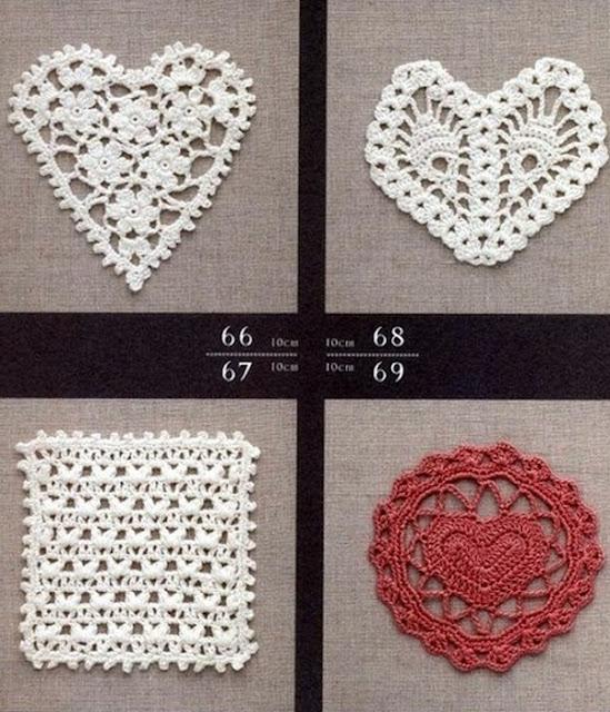 Quatre modèles de coeurs au crochet
