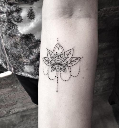 Stunning Arm Lotus Tattoo