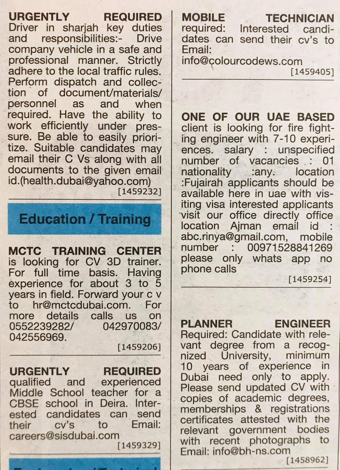 Required following Position for UAE Local Hiring Jobs Khaleej Times